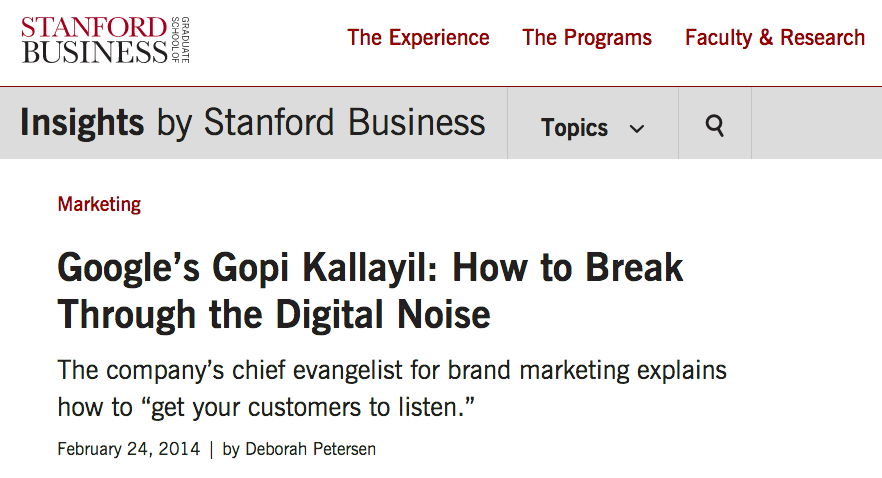 Google's Gopi Kallayil: How to Break Through the Digital Noise