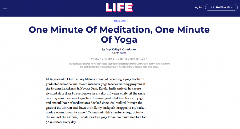 One Minute Of Meditation, One Minute Of Yoga - GopiGopi